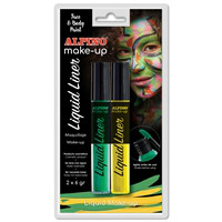 Alpino Face Paint Liquid Liner. Blister yellow & green, 6 g.