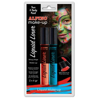 Alpino Face Paint Liquid Liner. Blister blue & red, 6g.