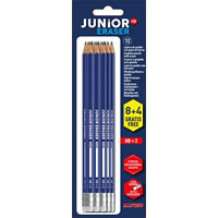 Blister 8 lápices de grafito Junior con goma +  4 GRATIS